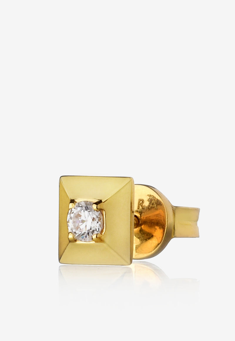 Special Order - Mini Eera Single Block Stud Earring in 18-karat Yellow Gold with Diamond