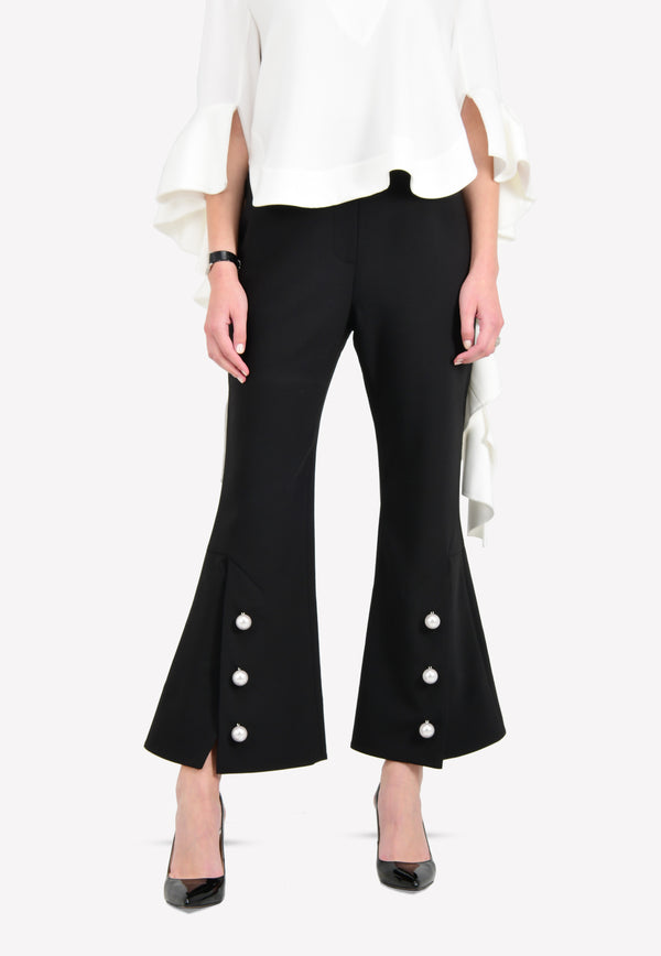 High-Waist Flared Pants with Pearl Details