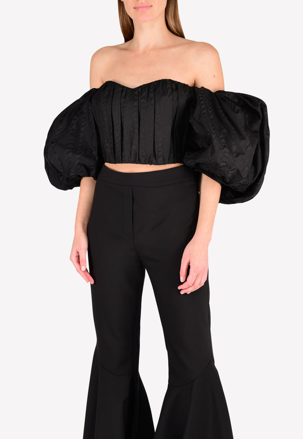 Lady Chatterly Off Shoulder Silk Top with Balloon Sleeves