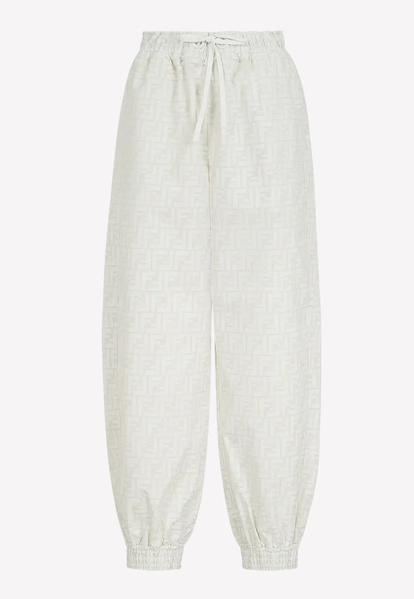 Fendi Logo Sports Nylon Jacquard Pants FAB228WHITE