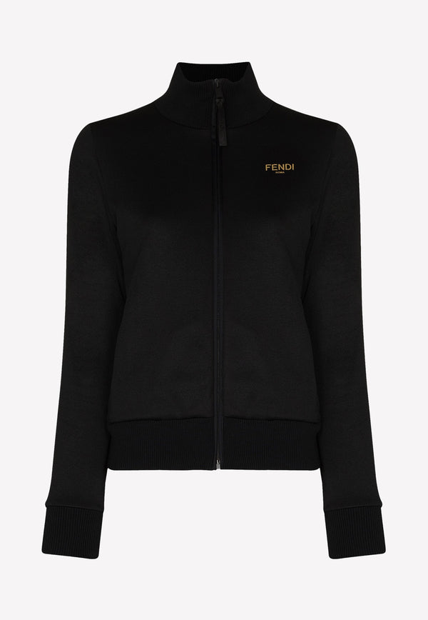 Fendi Logo Stripe Zip-Up Cotton Sweatshirt FAF069AERQBLACK