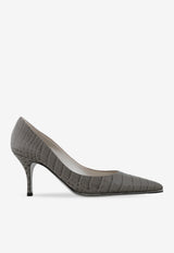 Croc-Print Leather Kitten Heel Pumps - 75 mm