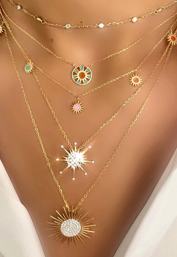 Soleil Collection Necklace in 18-karat Yellow Gold With Enamel