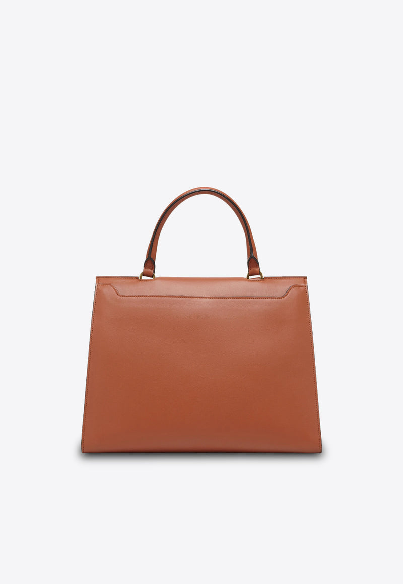 Medium Trifolio Top Handle Bag in Calf Leather