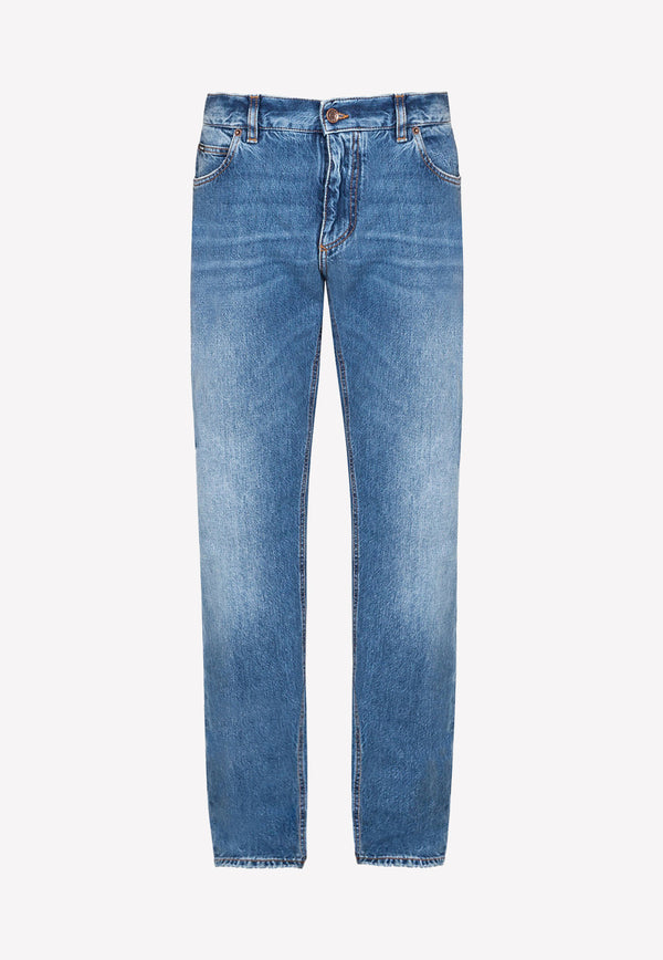 Washed Regular-Fit Jeans in Cotton