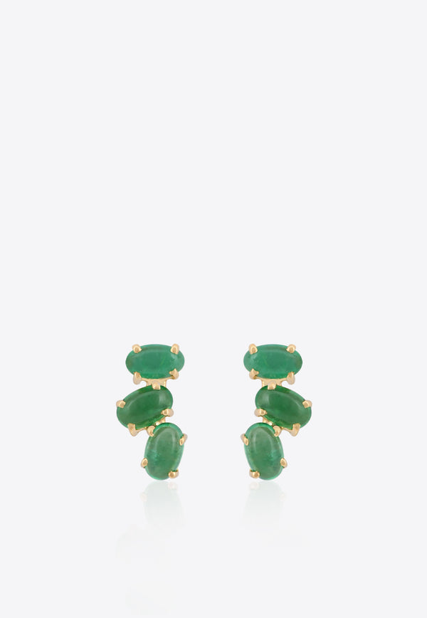 Special Order- Oval Crawlers Stud Earrings in 18-karat Yellow Gold and Green Emerald