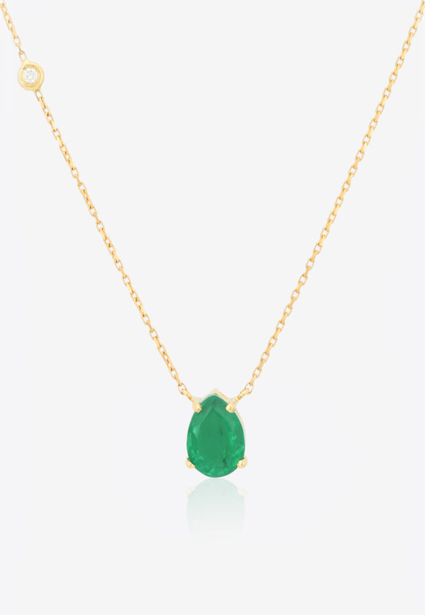 Pear-Shaped Cut Pendant Necklace in 18-karat Yellow Gold, Green Emerald and White Diamonds