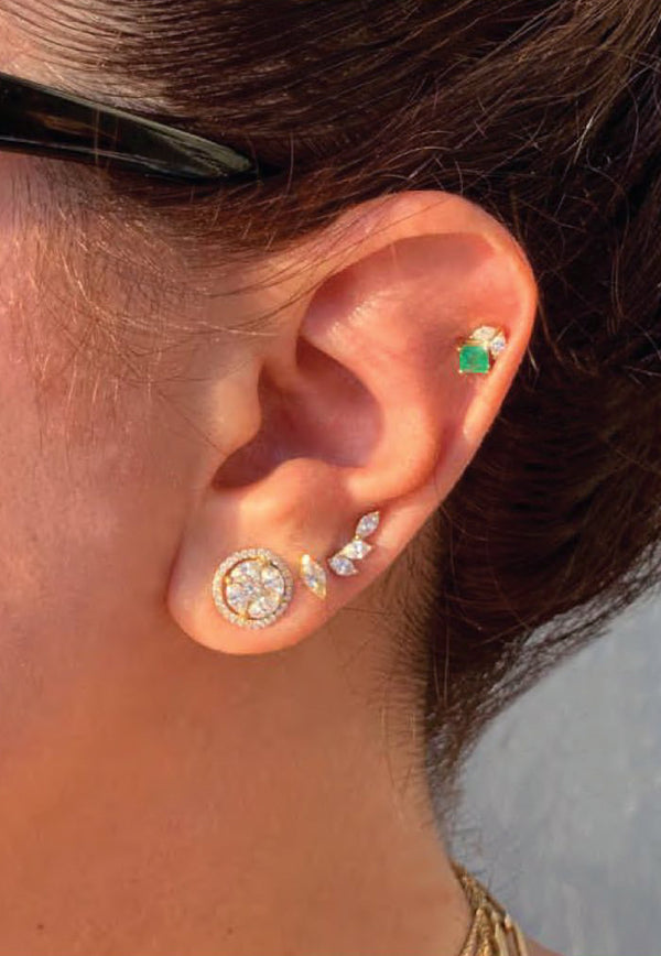 Princess Stud Earrings in 18-karat Yellow Gold, Green Emeralds and White Diamonds