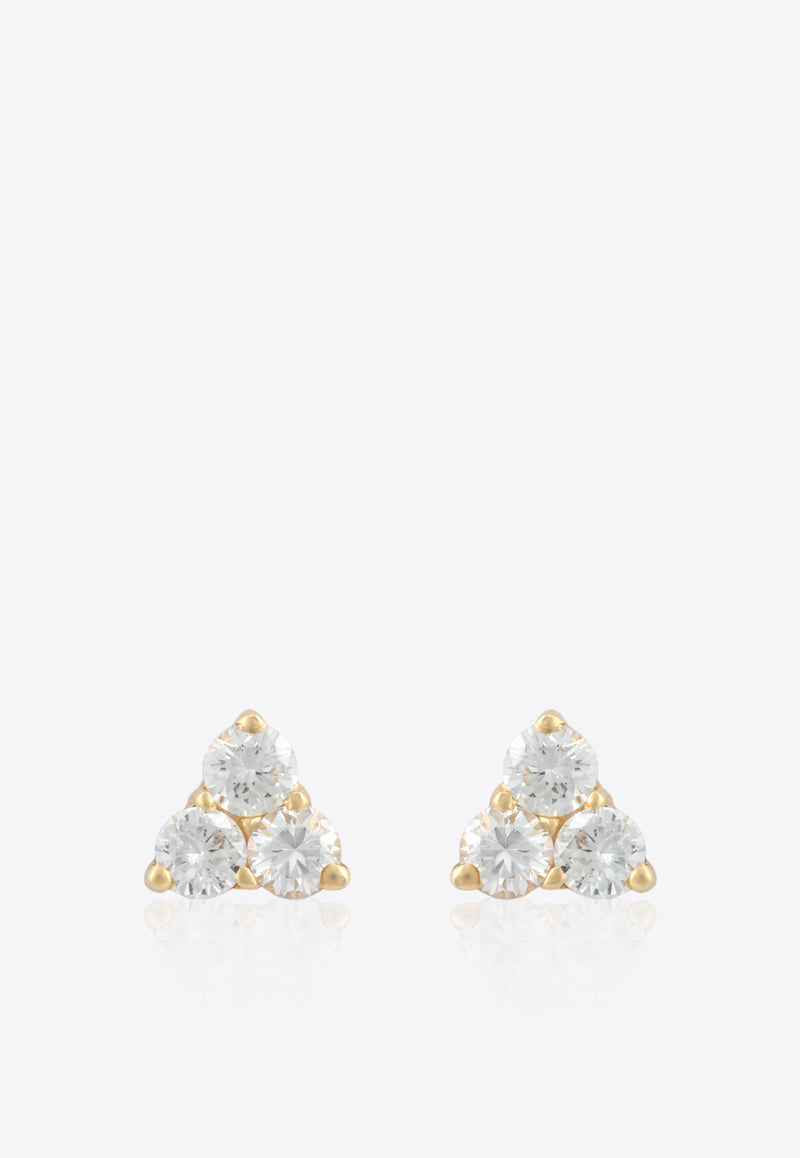 Trinity Stud Earrings in 18-karat Yellow Gold and White Diamonds