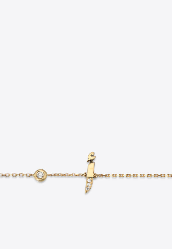 Special Order- أ Bracelet in 18-karat Yellow Gold with White Diamonds