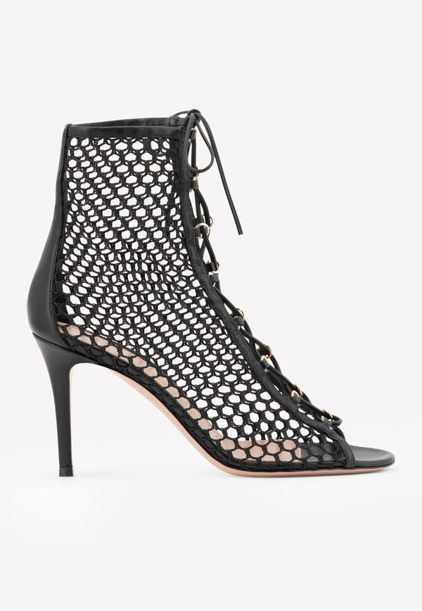 Helena 85 Mesh-Leather Lace-Up Ankle Boots