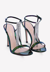 Iridescent Patent Leather Sandals with Crystal Tassels