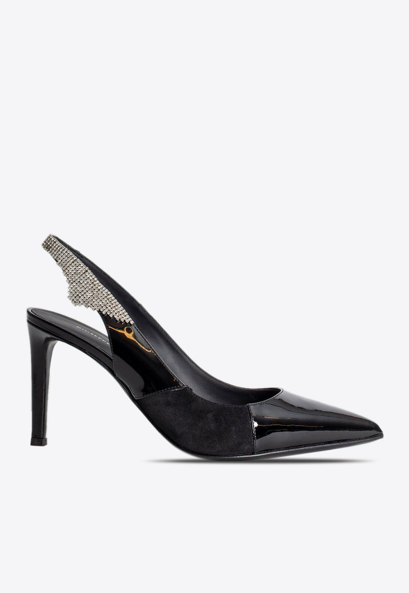 Giudy 85 Crystal Slingback Pumps in Patent Leather