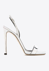120 Stiletto Sandals in Mirrored Leather