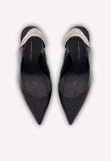 Susie Feline 105 Crystal Slingback Pumps in Patent Leather