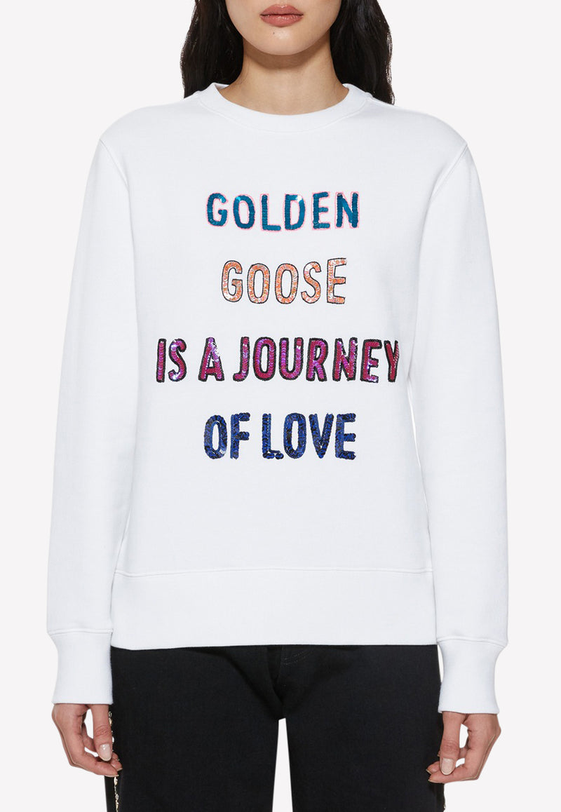 Athena Cotton Sweatshirt with Sequinned Lettering