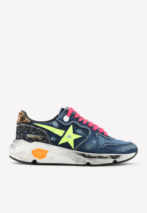 Running Sole Denim Sneakers with Fluorescent Star