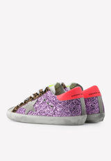 Superstar Classic Glittery Leather Sneakers with Leopard Inserts