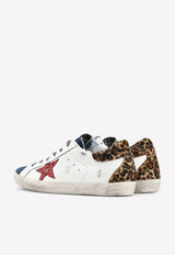 Superstar Denim-toe Leather Sneakers with Leopard Horsy Heel