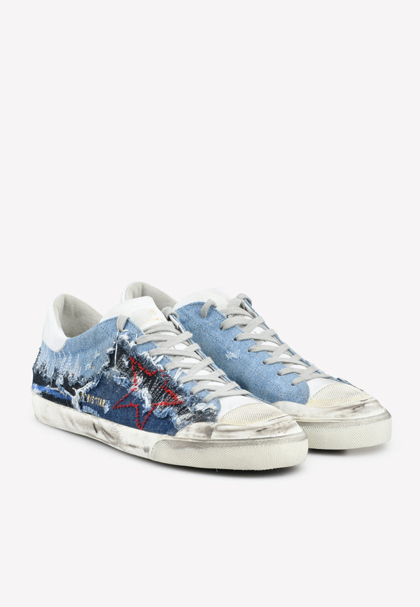 Superstar Leather Sneakers with Denim Inserts