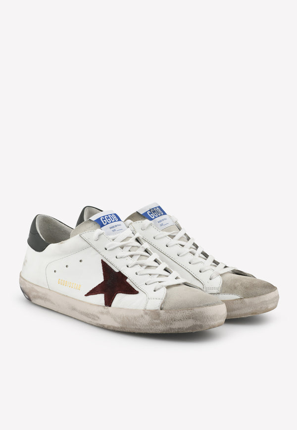 Superstar Leather Sneakers with Suede Bordeaux Star