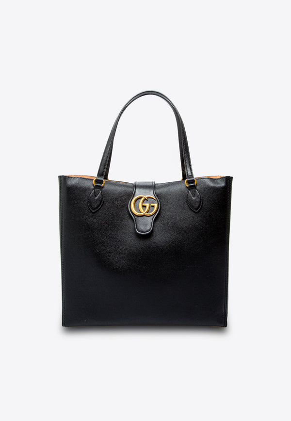 Medium Leather Tote Bag with Double G Embellishment