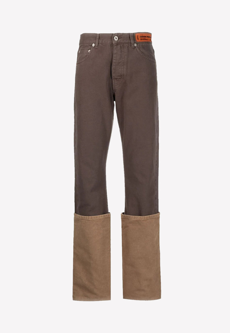 Cuffed-Leg Non-Stretch Cotton Jeans