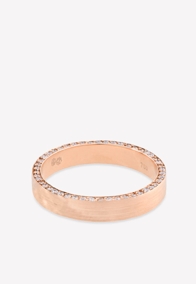 18k Rose Gold Matte Ring Encrusted with 0.47 cts Diamonds