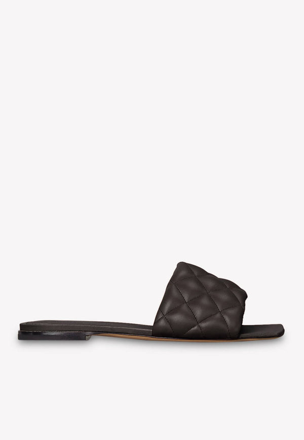 Padded Flat Sandals in Soft Nappa Leather