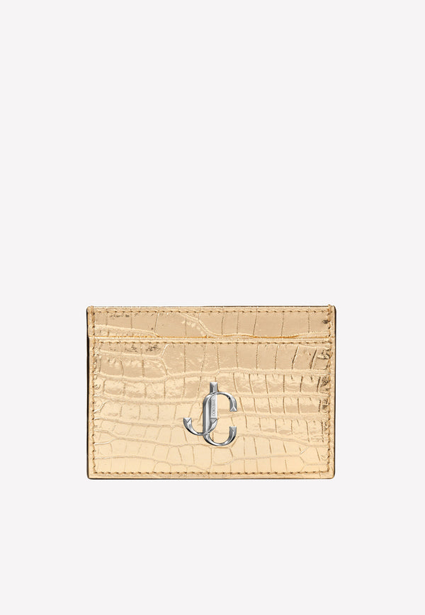 Umika Metallic Croc-Embossed Leather Cardholder with Logo Plaque