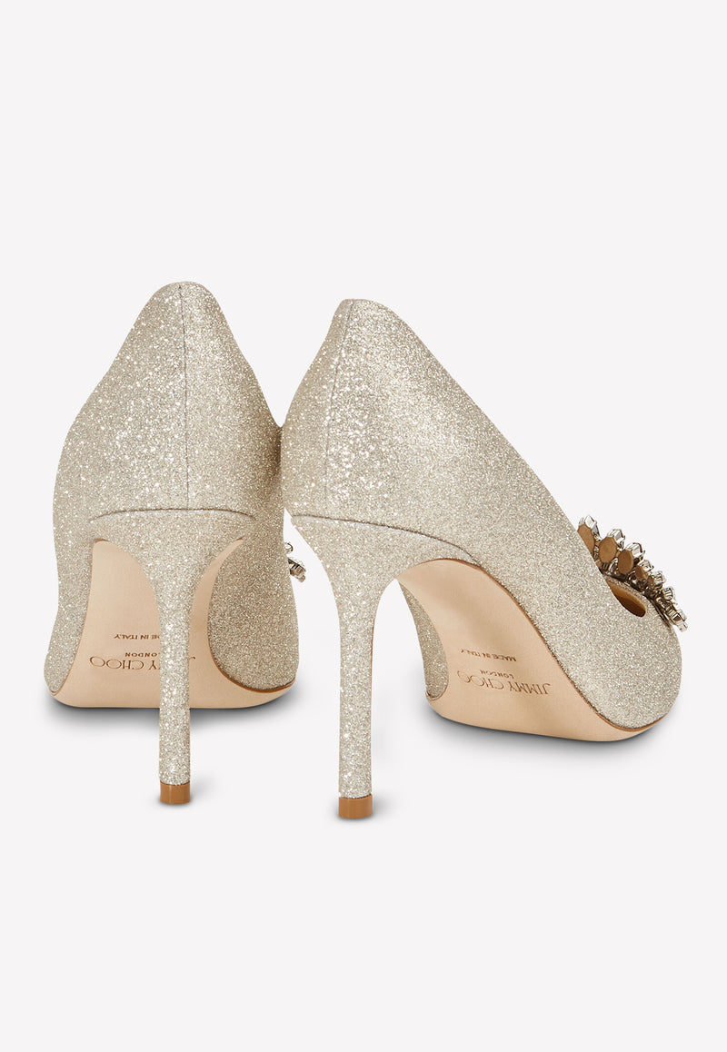 Romy 85 Pumps in Dusty Glittered Fabric