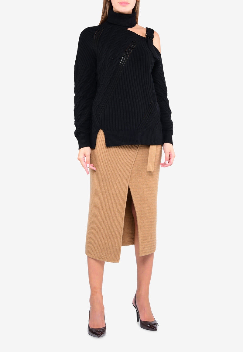Sienna Wool Blend Ribbed Wrap-Style Midi Skirt