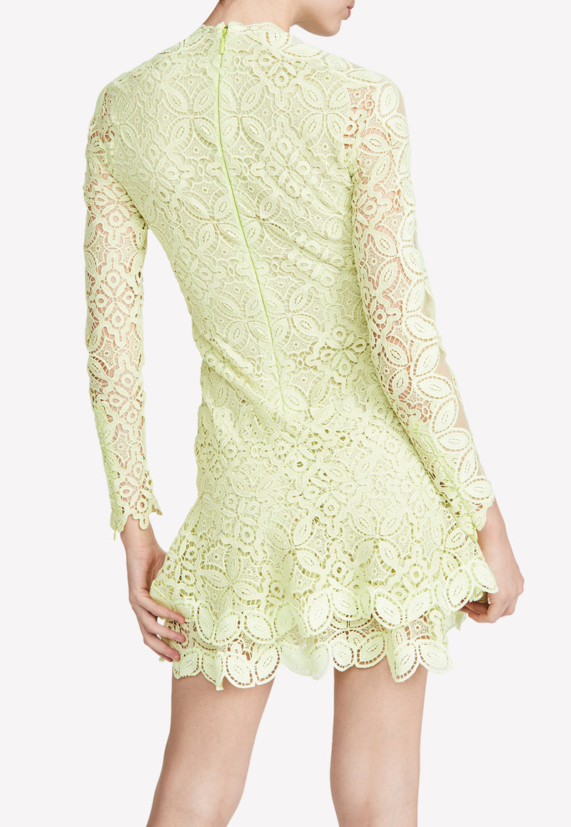 Pear Guipure Lace Sleeved Mini Dress