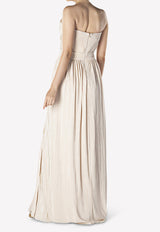Rory Pleated Strapless Gown with Crossover Front