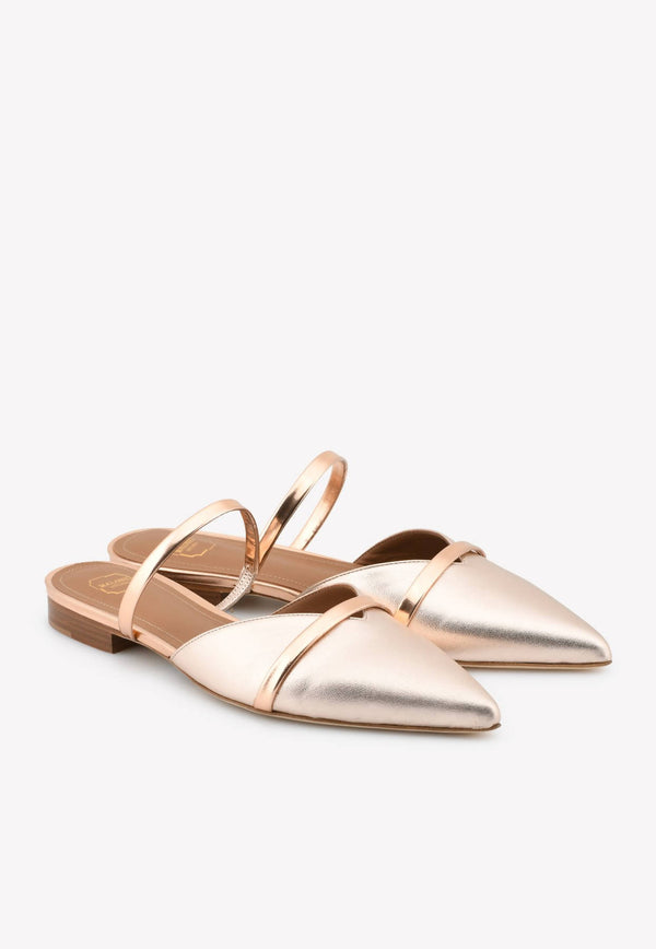 Frankie Flat Mules in Metallic Nappa leather-H