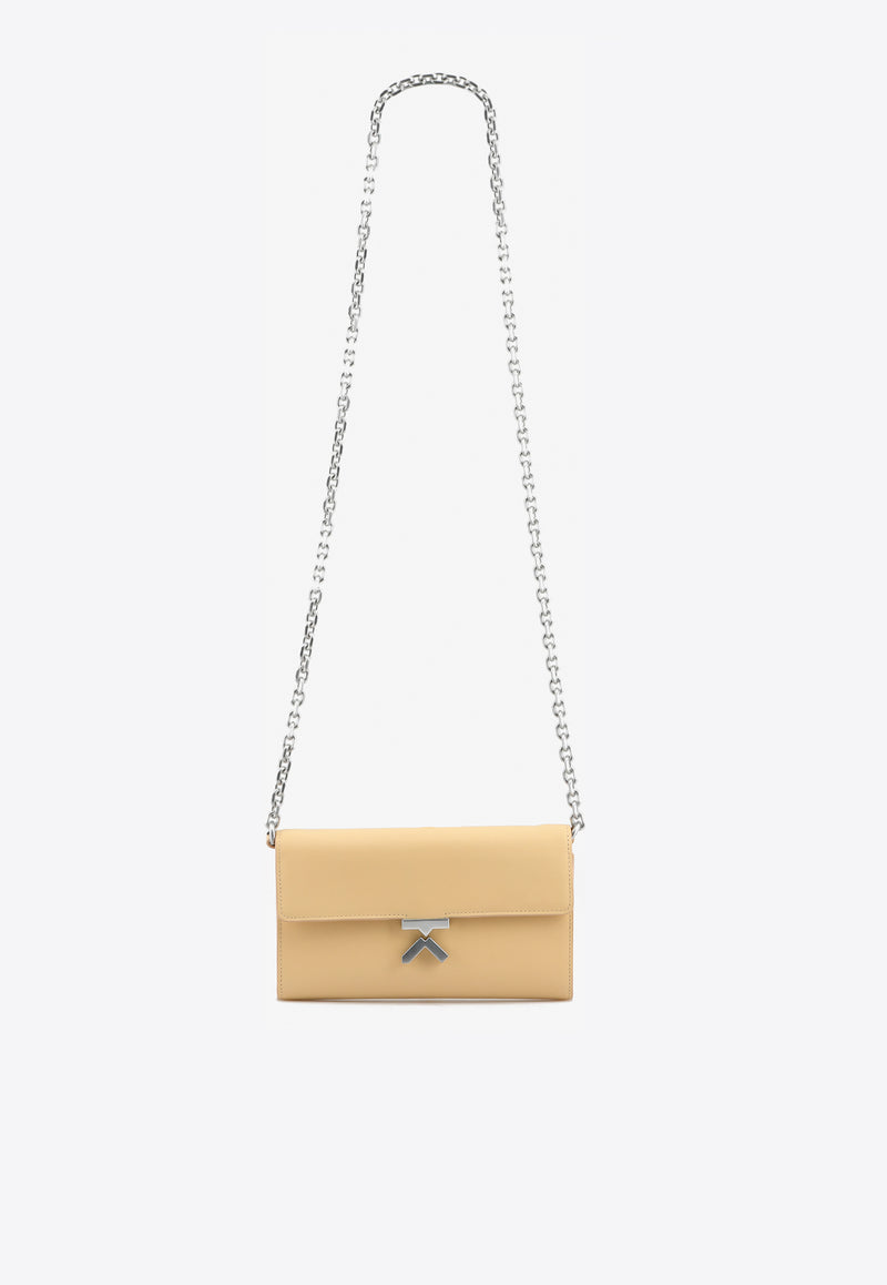 K Cow Leather Chain Clutch Bag