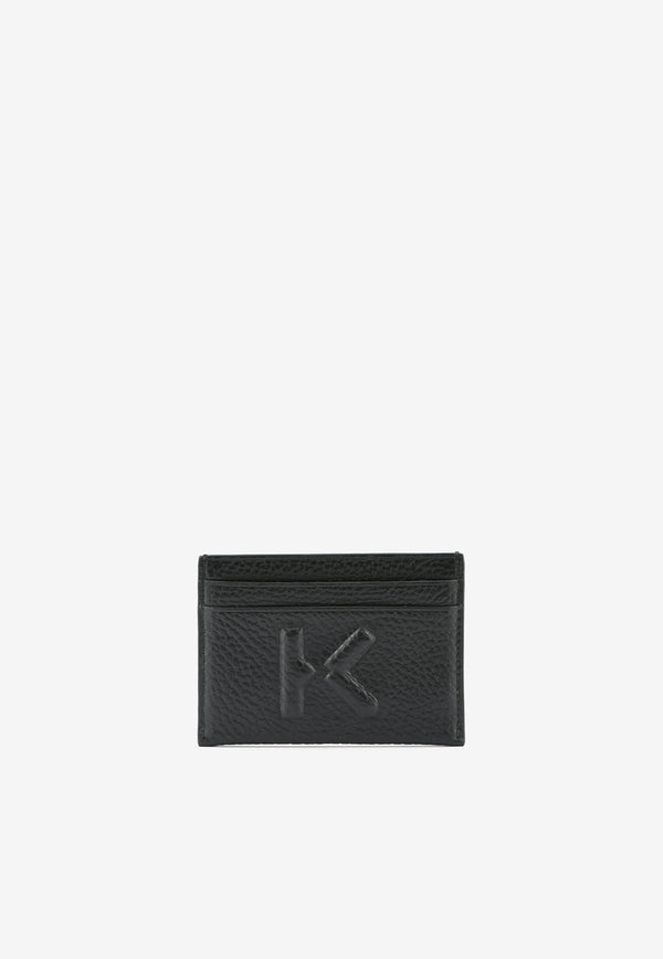 K Embossed Cardholder in Grained Cow Leather