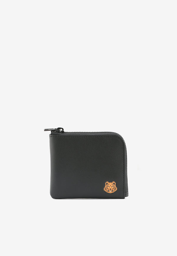 Small Tiger Crest Zipped Wallet in Cow Leather