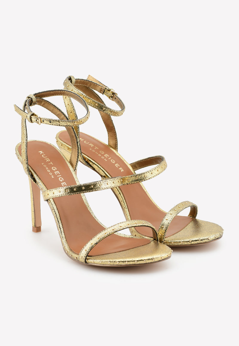 Portia 95 Studded Sandals in Metallic Nubuck Leather