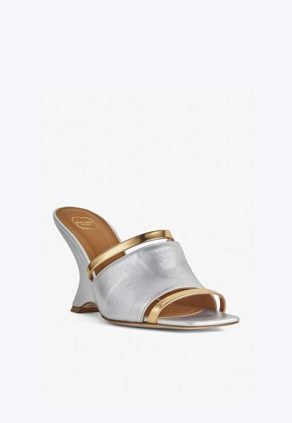 Demi 80 Wedge Mules in Metallic Nappa-E