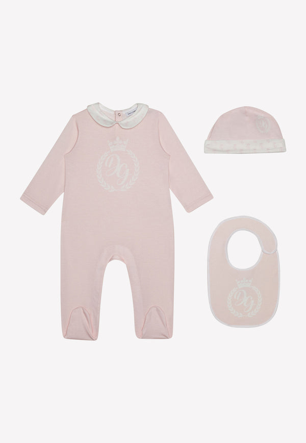 Baby Girls' Cotton Onesie Hat and Bib Gift Set