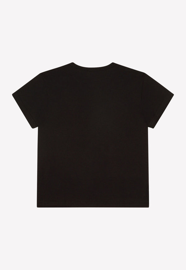 Boys Cotton T-shirt with Logo Plate