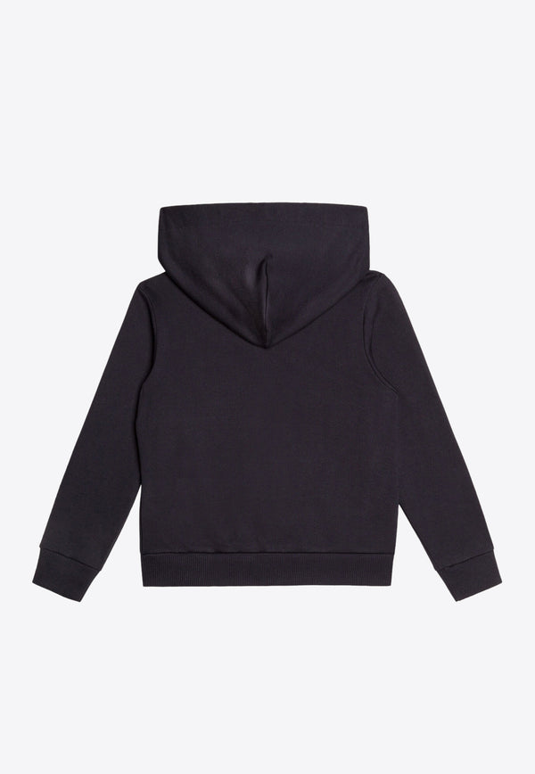 Boys Cotton Hooded Sweatshirt with Logo Plate