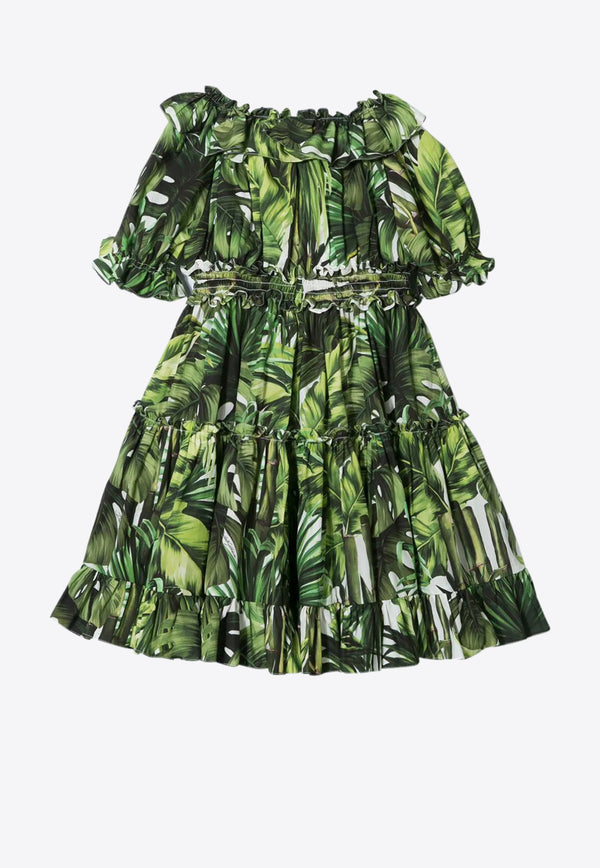 Girls Palm Print Cotton Tiered Dress