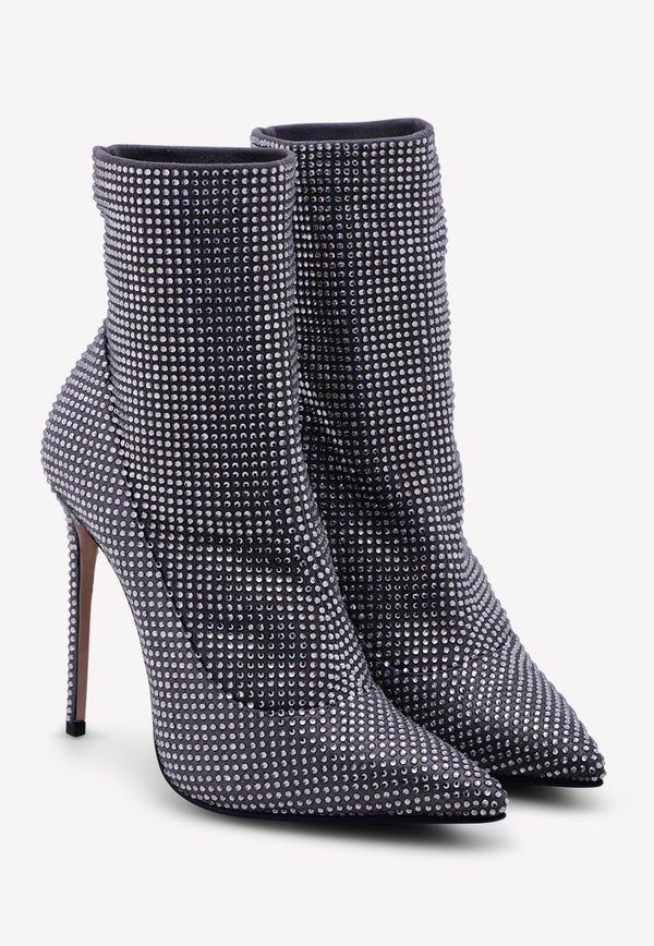 Queen 100 Calfskin Ankle Boots with Crystal Embellishments