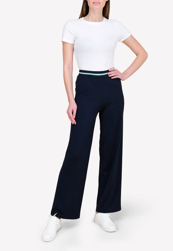 Knitted Wide-Leg Track Pants in Lurex