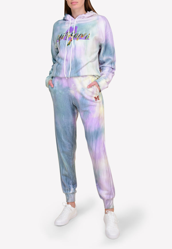 Knitted Tie-Dyed Track Pants with Monogram