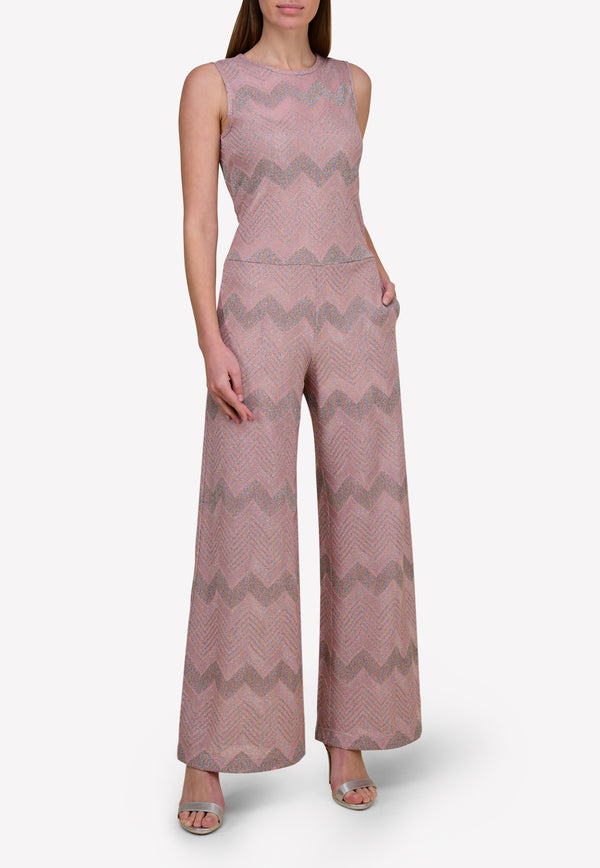 Knitted Wide-Leg Jumpsuit in Chevron Stripes