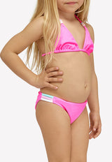 Girls Mini Jennifer Triangle Top And Rainbow Fixed Briefs