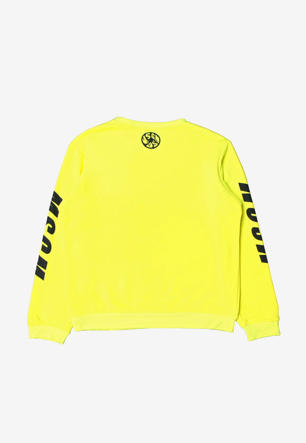 MSGM Kids Boys Logo Print Sweatshirt Yellow MS027606FL-YELLOW